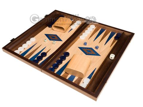 15-inch Walnut and Oak Backgammon Set - Blue