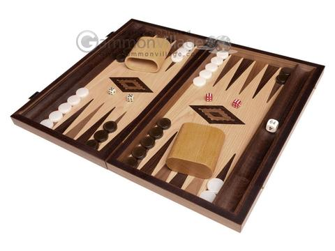 15-inch Walnut Root Backgammon Set - Oak Field