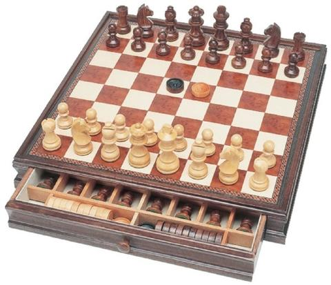 Fine Wooden Chess / Checkers Combination Set