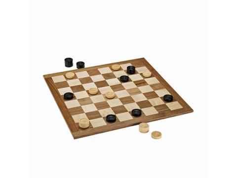 Classic Checkers Set - Black & Natural Pieces with Solid Walnut & Maple Wood Board 18 in. (Made in USA)