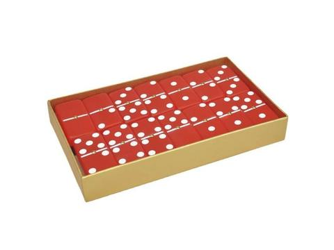 DOUBLE 6 Frosted Ruby Red Dominoes Set - Gold Gift Box