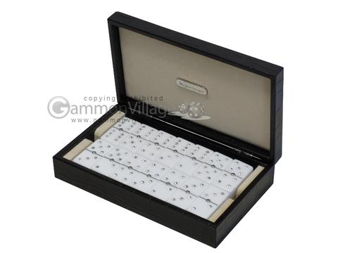Double 6 Swarovski Crystal White Dominoes Set - Black Croco Case