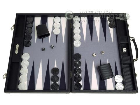 Hector Saxe Carbon Linen/Felt Backgammon Set - Black