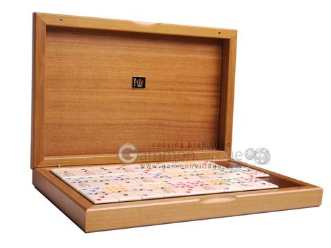 Double 9 Venetian Dominoes in Briar Wood Box