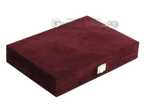 Hector Saxe Suede Leather Travel Backgammon Set - Maroon