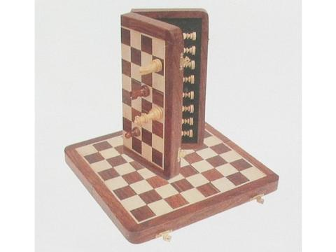 12in. Wood Magnetic Folding Travel Chess Set