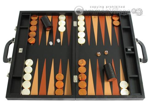 Zaza & Sacci® Leather Backgammon Set - Model ZS-612 - Large - Black Lizard