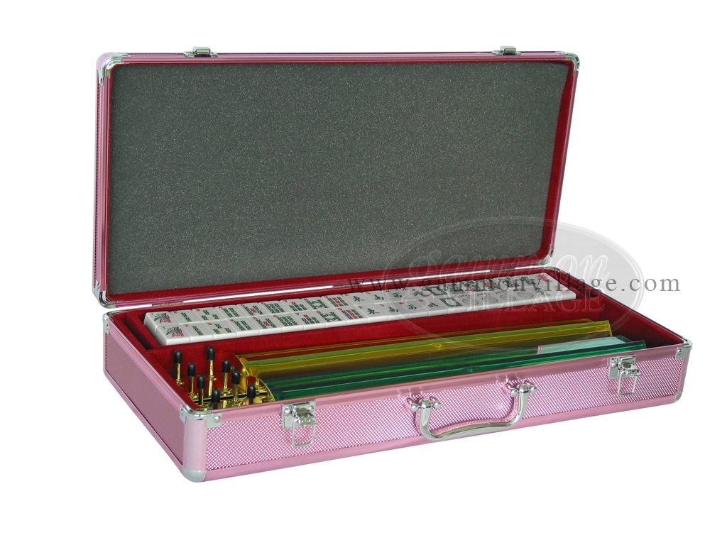 American Mah Jong Set - White Tiles - Aluminum Case - Pink
