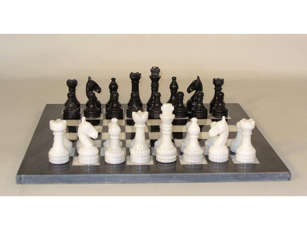 16 in. Black and White Marble Chess set