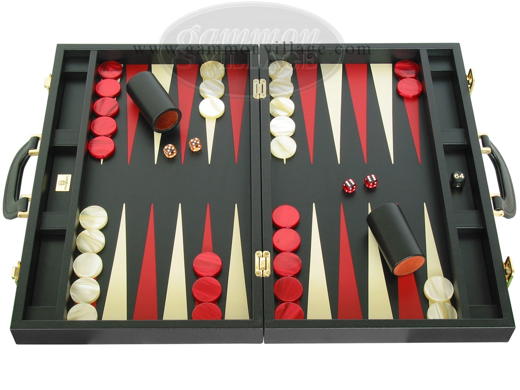Zaza & Sacci® Leather Backgammon Set - Model ZS-501 - Medium - Black