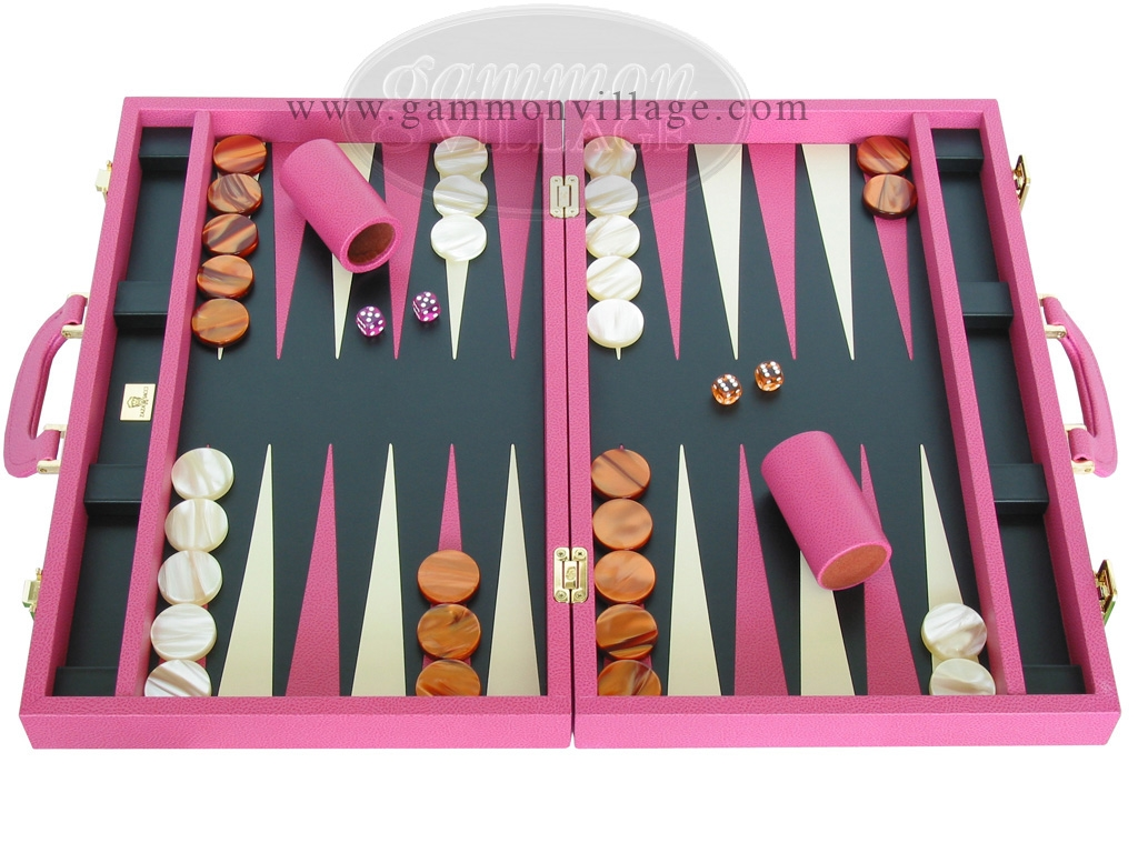 Zaza & Sacci Leather Backgammon Set - Model ZS-501 - Medium - Pink