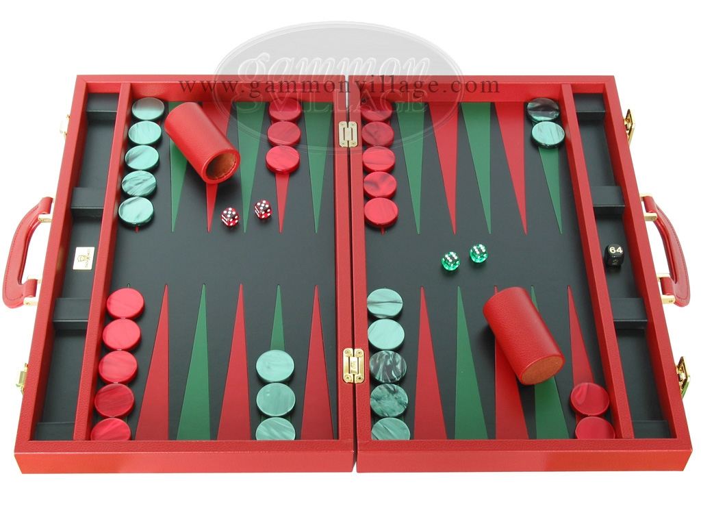 Zaza & Sacci Leather Backgammon Set - Model ZS-501 - Medium - Red