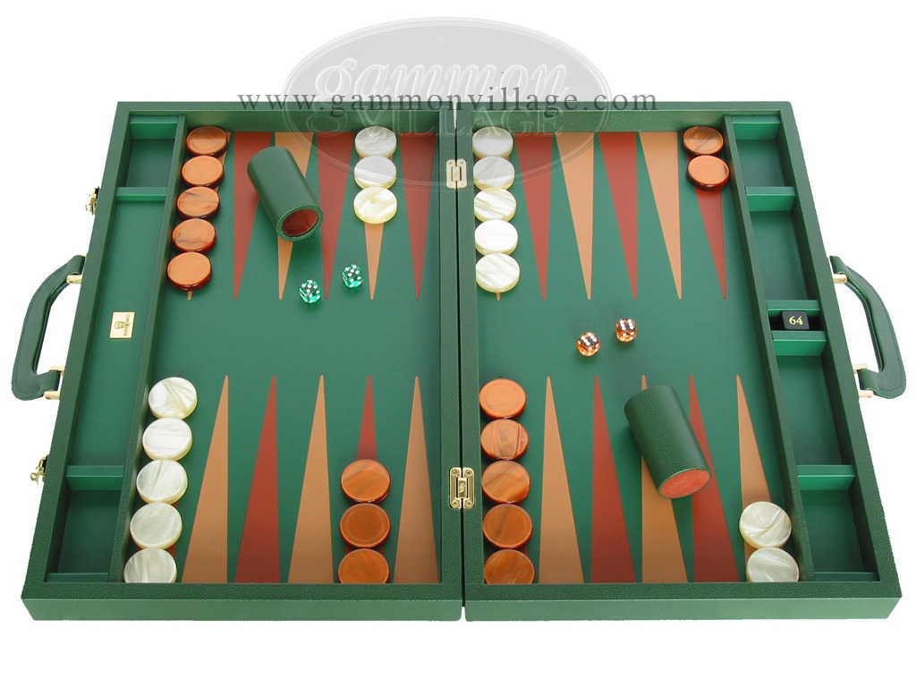 Zaza & Sacci Leather Backgammon Set - Model ZS-612 - Large - Green