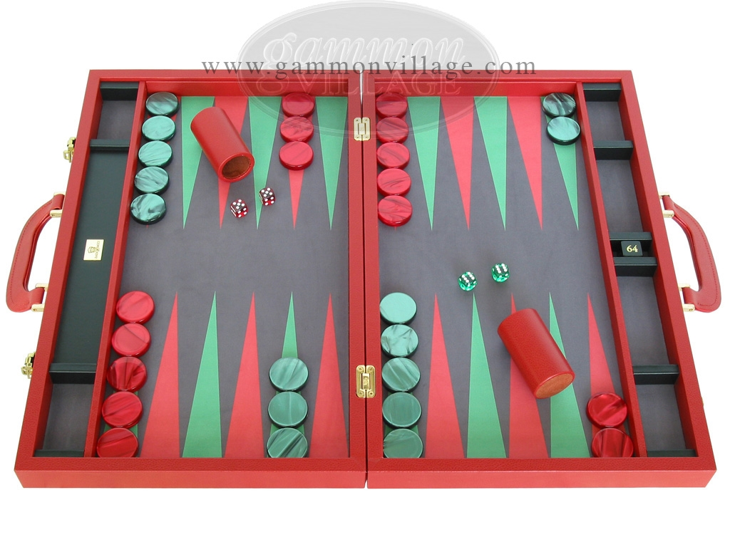 Zaza & Sacci Leather/Microfiber Backgammon Set - Model ZS-760 - Large - Red