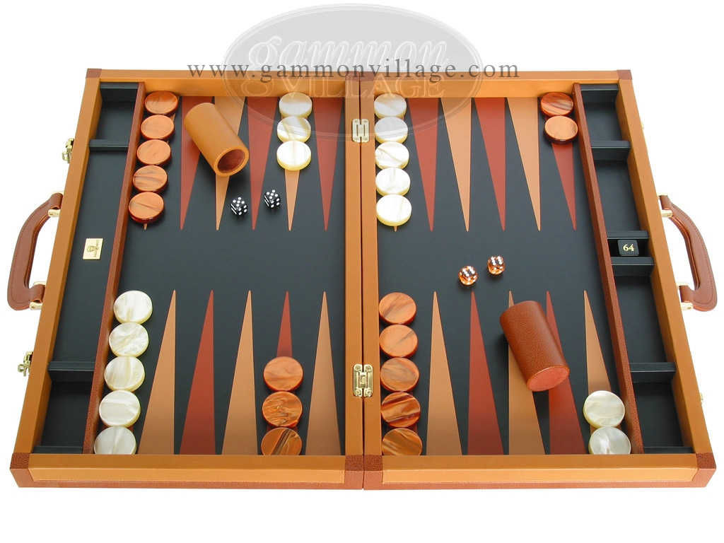 Zaza & Sacci Leather Backgammon Set - Model ZS-888 - Large - Brown