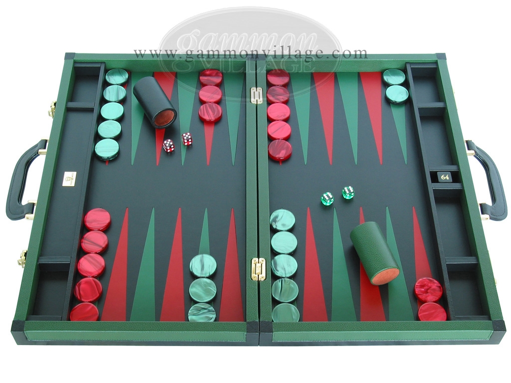 Zaza & Sacci Leather Backgammon Set - Model ZS-888 - Large - Green