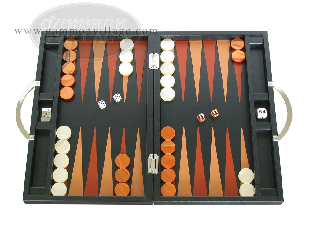Zaza & Sacci Leather Backgammon Set - Model ZS-200 - Travel - Black