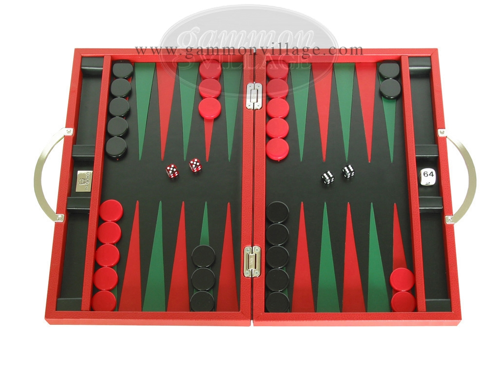 Zaza & Sacci Leather Backgammon Set - Model ZS-200 - Travel - Red