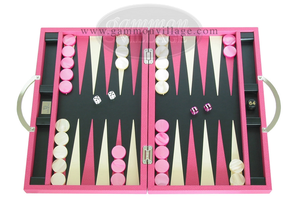 Zaza & Sacci Leather Backgammon Set - Model ZS-200 - Travel - Pink
