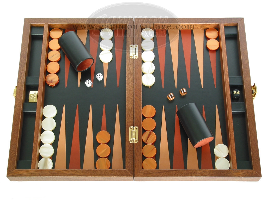 Zaza & Sacci Folding Wood Backgammon Set - Model ZS-004 - Medium - Leather/Mahogany