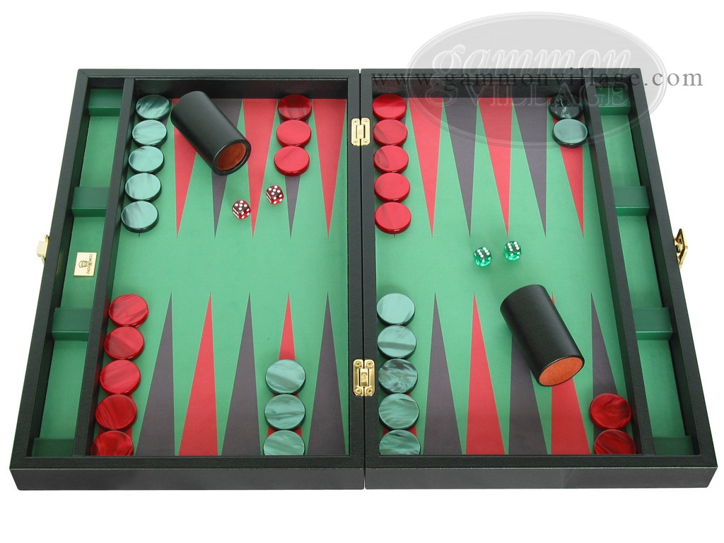 Zaza & Sacci Leather/Microfiber Backgammon Set - Model ZS-425 - Black