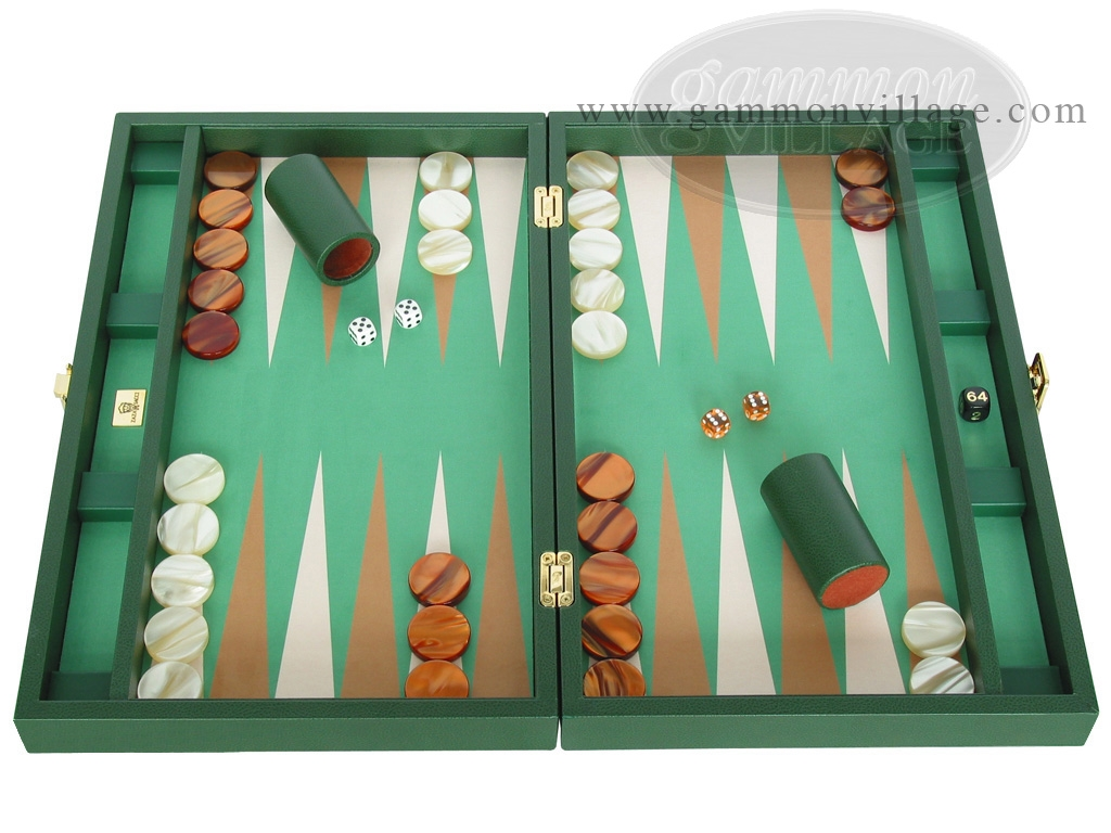 Zaza & Sacci Leather/Microfiber Backgammon Set - Model ZS-425 - Green