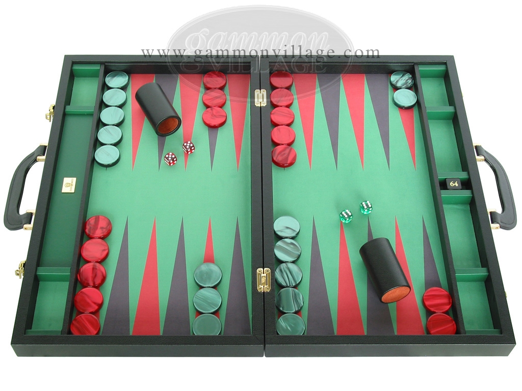 Zaza & Sacci Leather/Microfiber Backgammon Set - Model ZS-760 - Large - Black