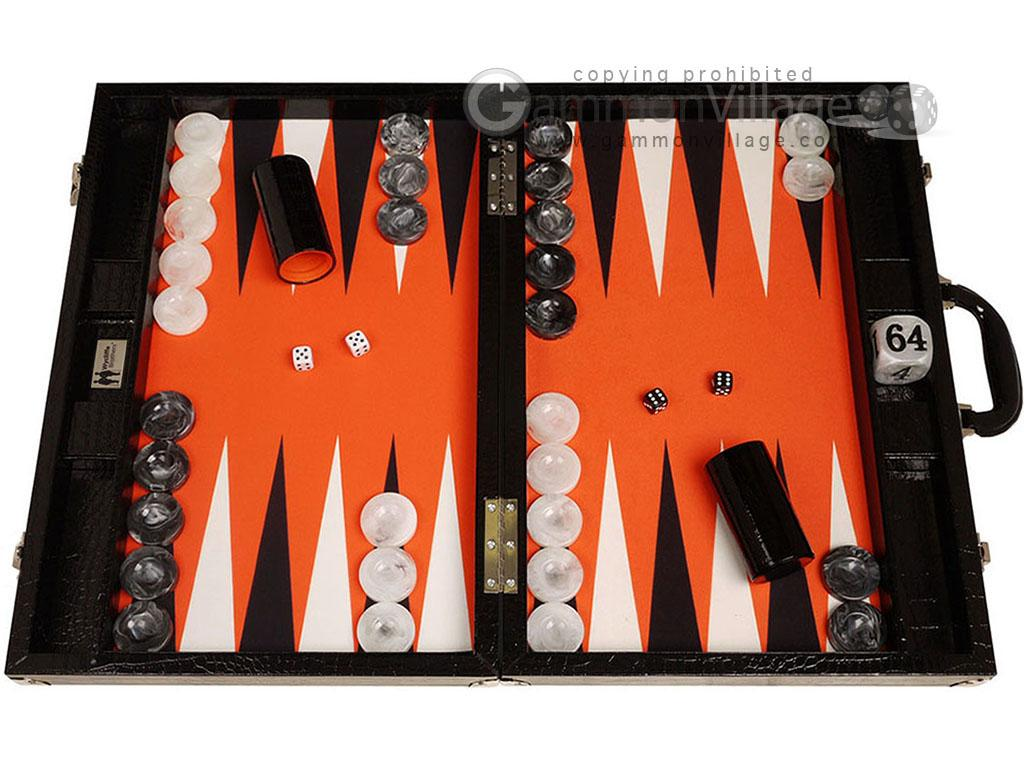 Wycliffe Brothers® Tournament Backgammon Set - Black Croco with Orange Field - Gen III