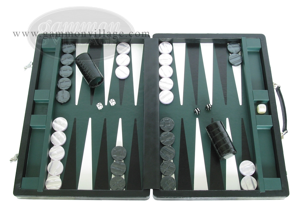 Marcello de Modena Leather Backgammon Set - Model MM-621 - Large - Croco Black