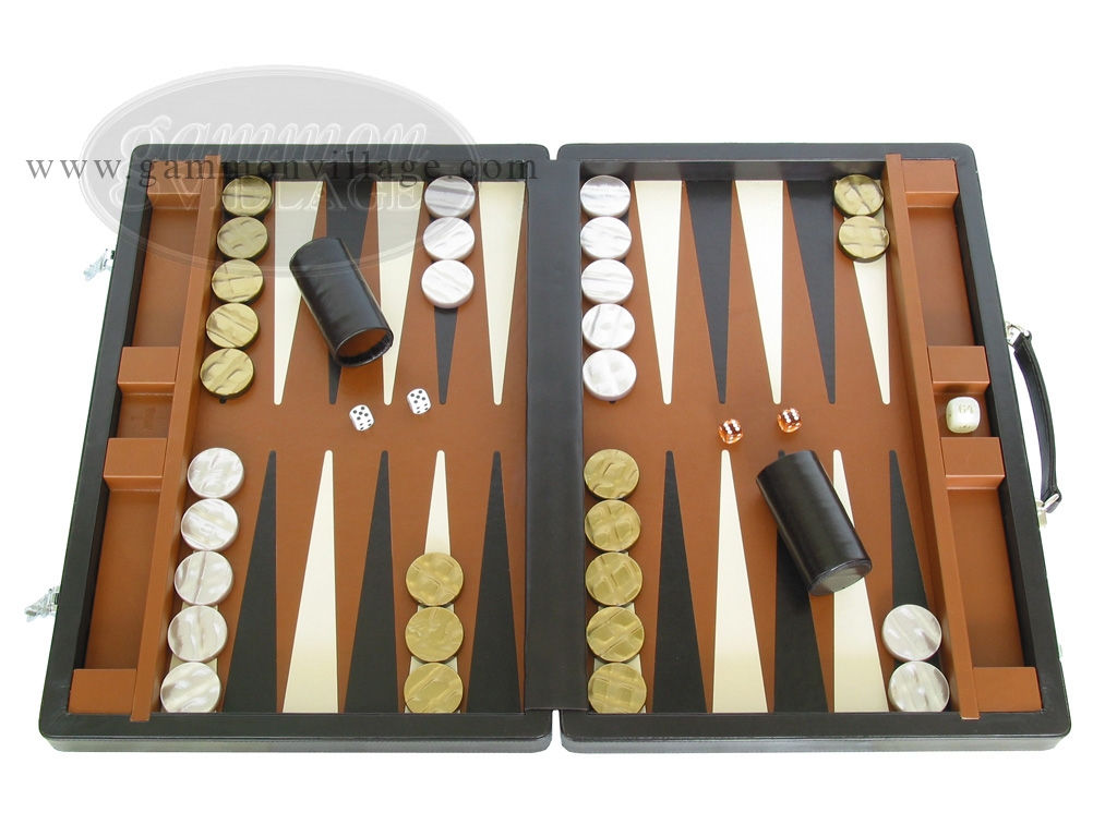 Marcello de Modena Leather Backgammon Set - Model MM-642 - Large - Brown