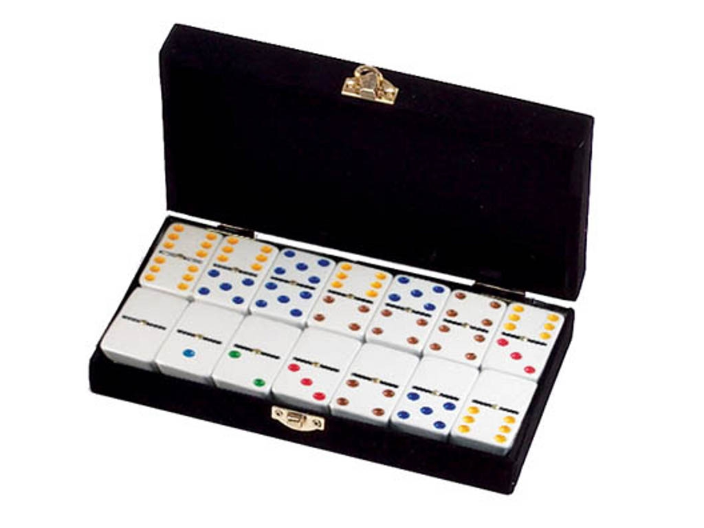 DOUBLE 6 White Dominoes Set - Colored Dots - With Spinners - Velvet Box