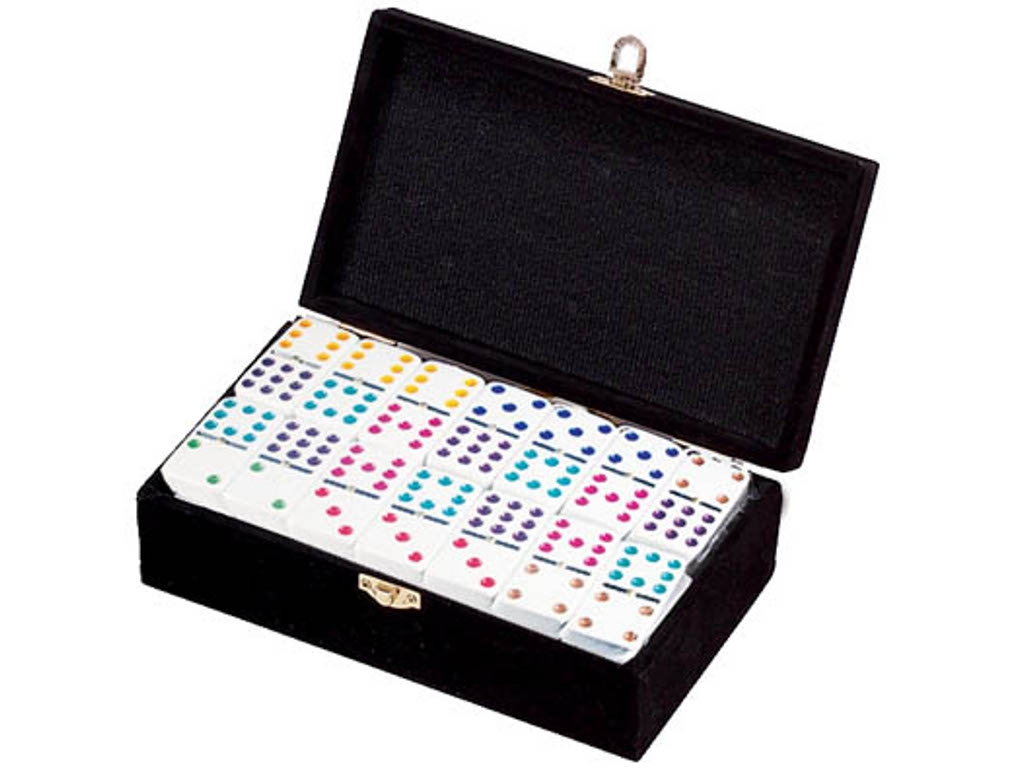 DOUBLE 9 White Dominoes Set - Colored Dots - With Spinners - Velvet Box