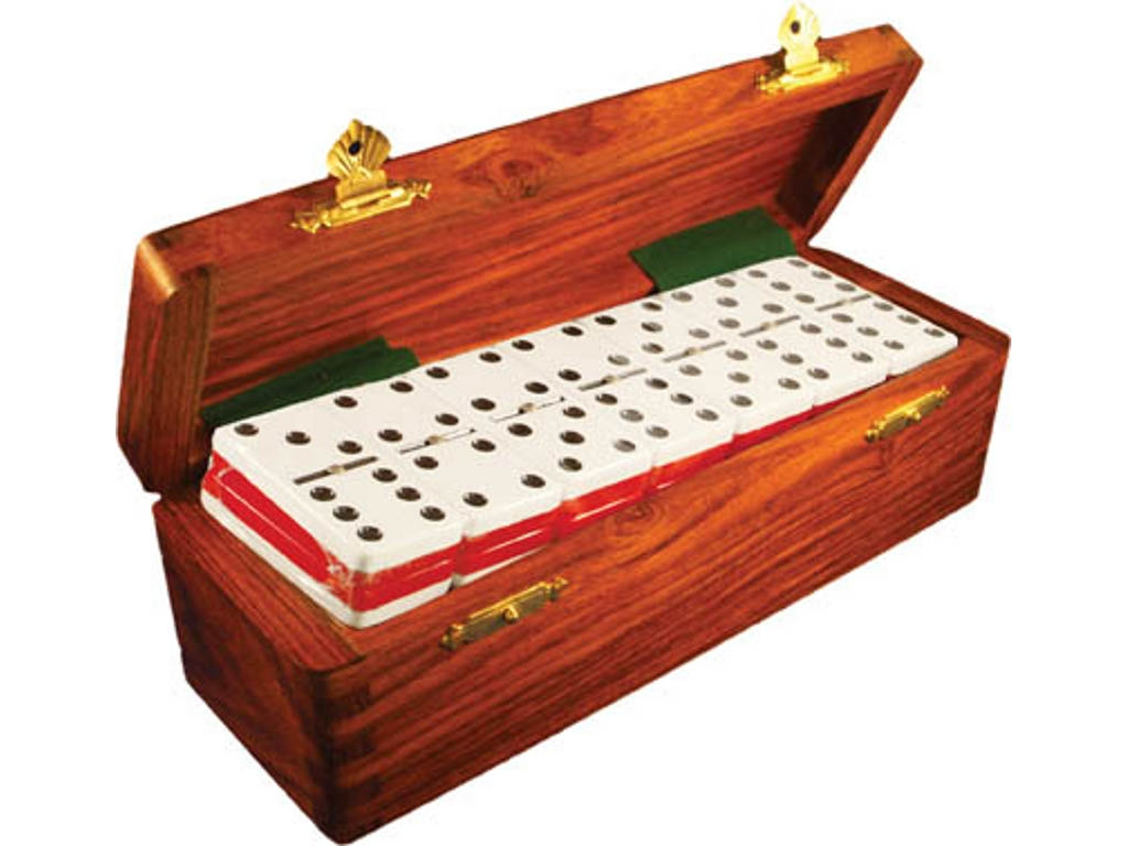 DOUBLE 6 Two-Tone Red + White Dominoes Set - With Spinners - Wood Box