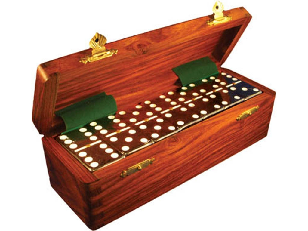 DOUBLE 6 Black Dominoes Set - With Spinners - Wood Box