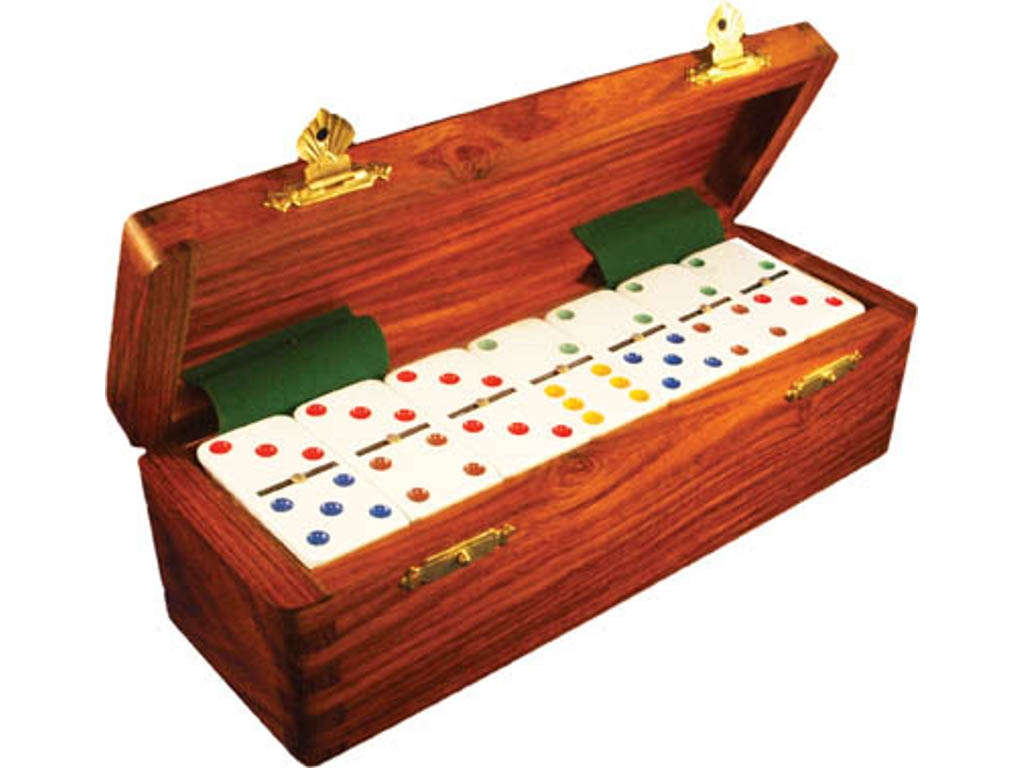 DOUBLE 6 White Dominoes Set - Colored Dots - With Spinners - Wood Box