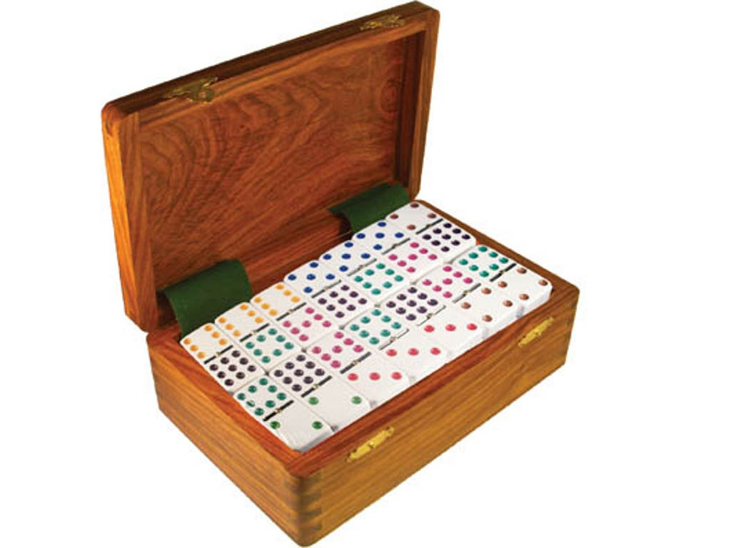DOUBLE 9 White Dominoes Set - Colored Dots - With Spinners - Wood Box