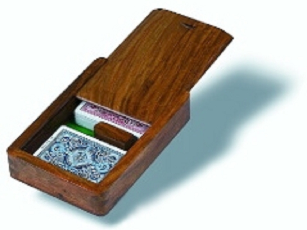 Wooden Double Deck Card Case