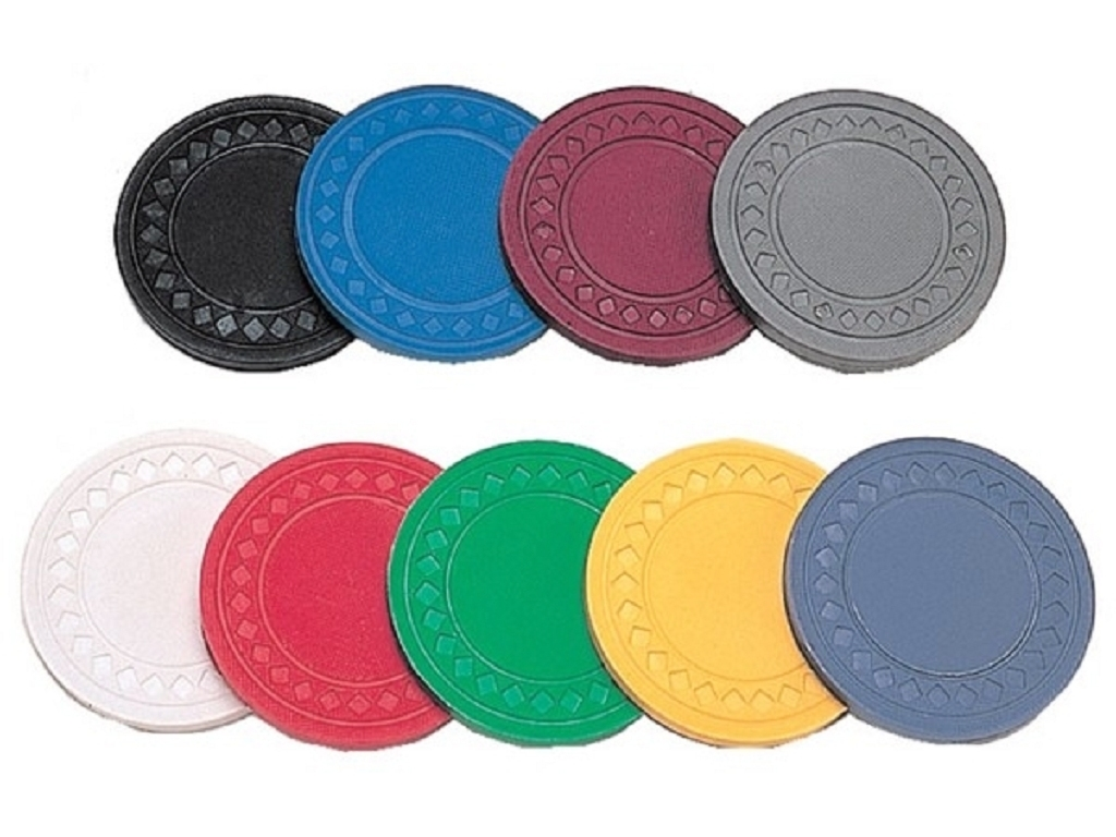 8.5gram Diamond Patterned Poker Chips - Roll of 50