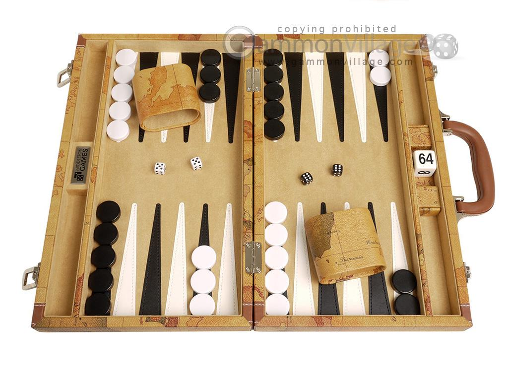 15-inch Map Backgammon Set - Brown