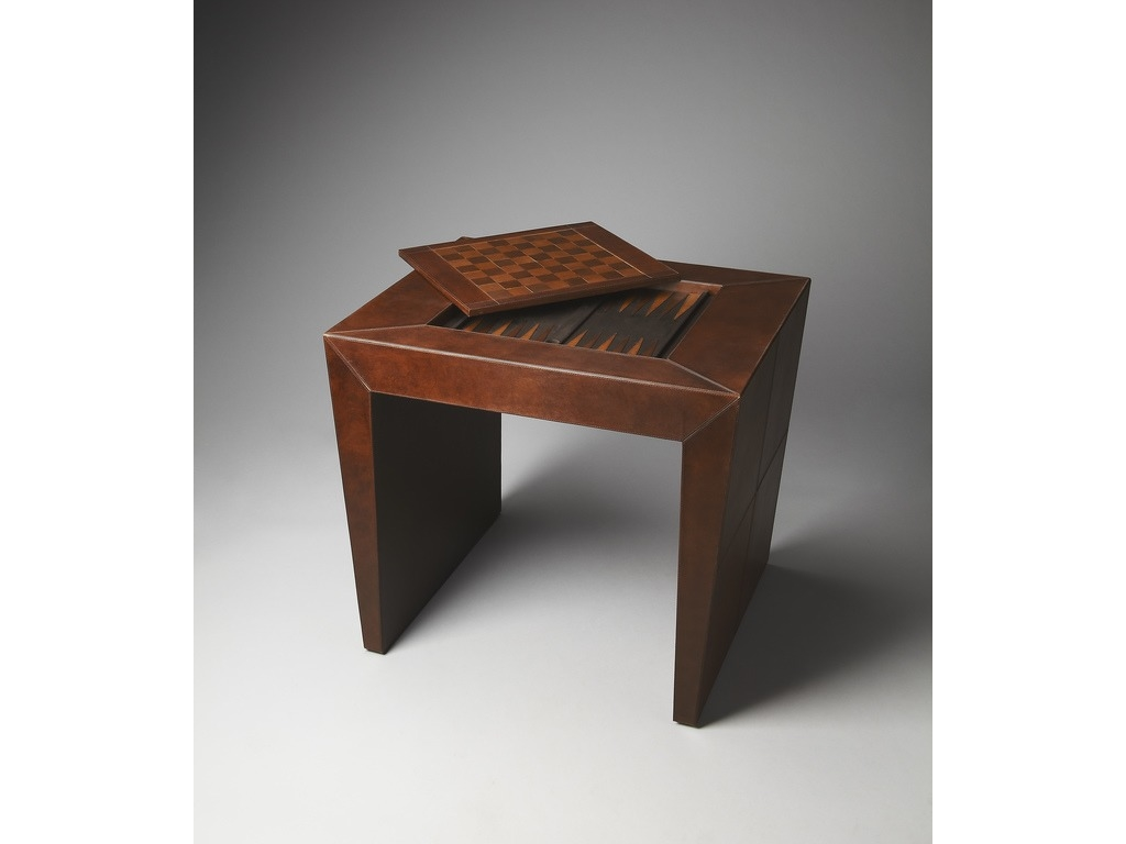 Butler Bradford Leather Chess/Checkers and Backgammon Game Table