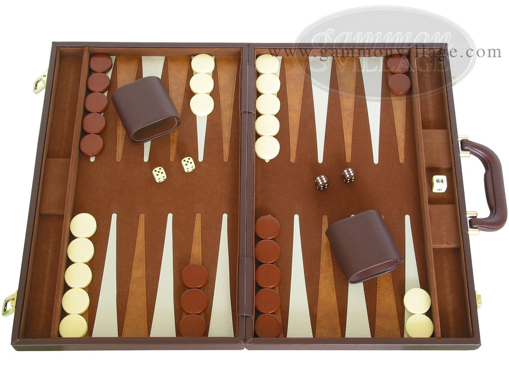 15-inch Deluxe Backgammon Set - Brown