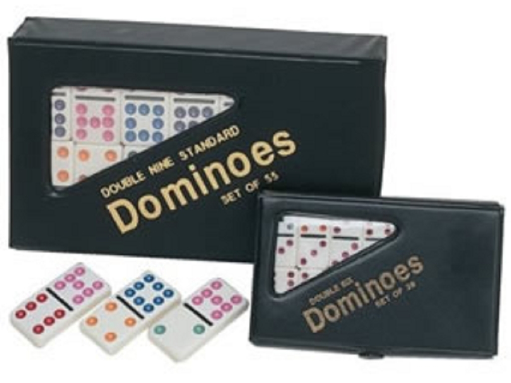DOUBLE 6 Dominoes Ivory Color Tiles with Assorted Color Dots in Black Vinyl Case