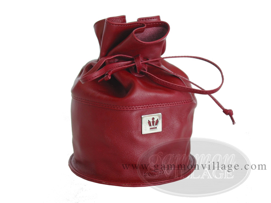Double 6 Professional Dominoes in Round Bottom Leather Bag - Burgundy