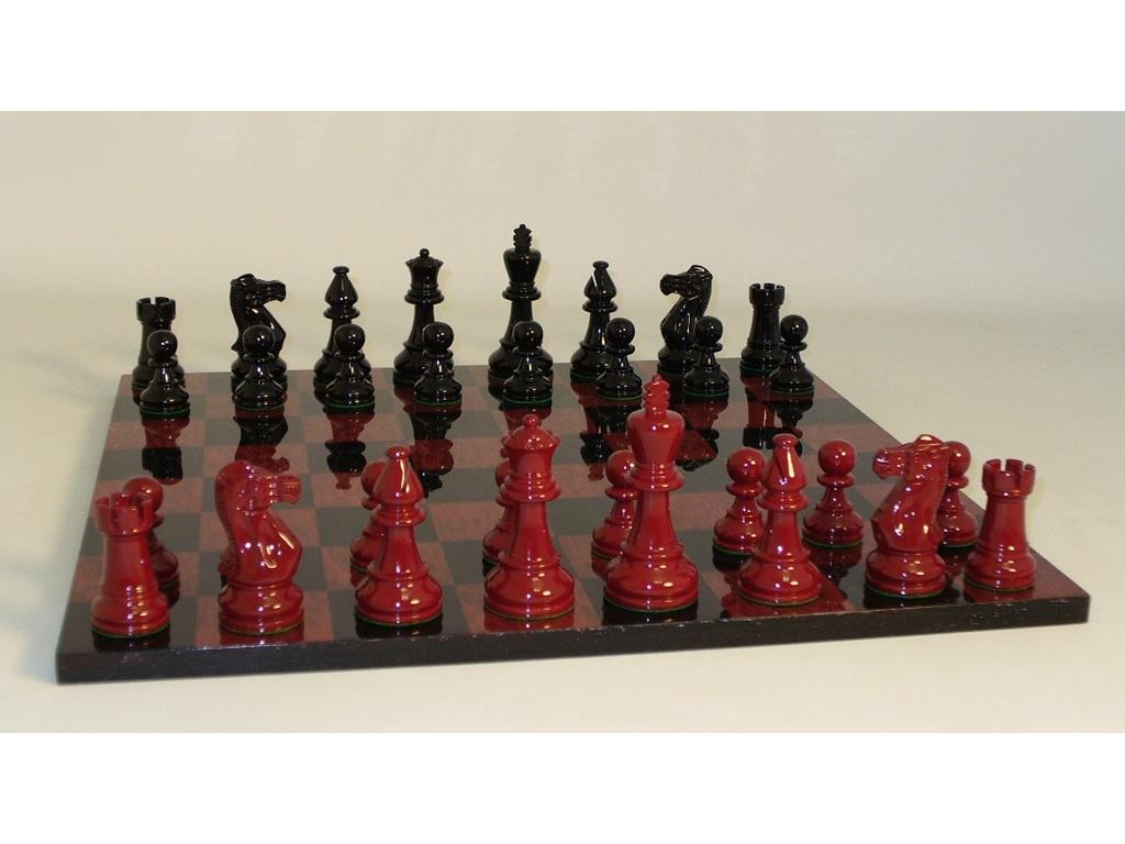 Classic Chess Set and Board with Black and Red Lacquer Chessmen