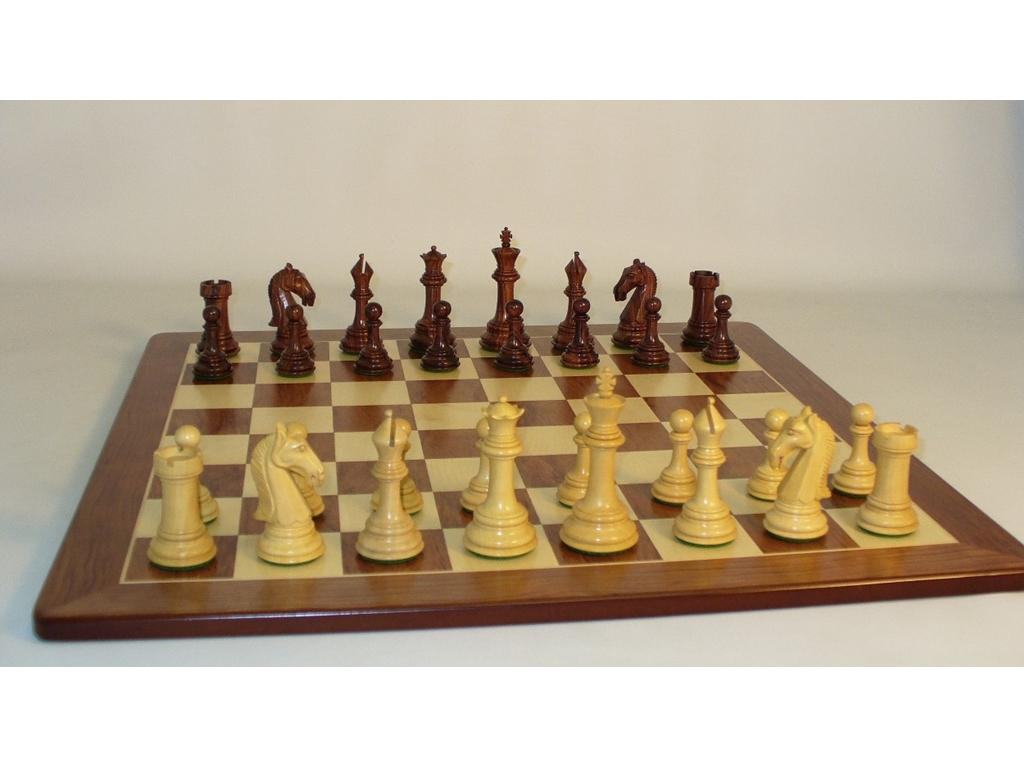 Wood Chess Set - Camelot 3-3/4 inch Rosewood Chessmen with Padauk Maple Chess Board