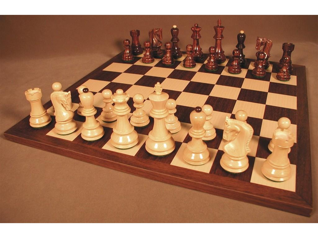 Old Russian Rosewood Chessmen with Dark Rosewood Chess Board