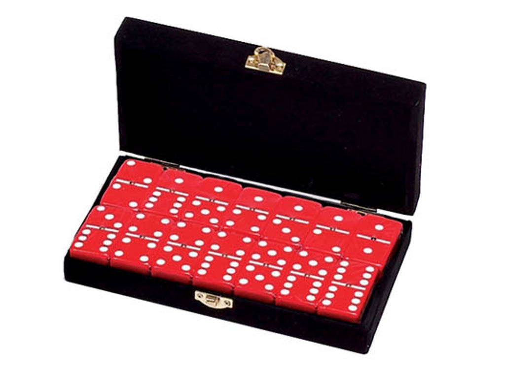 DOUBLE 6 Red Dominoes Set - With Spinners - Velvet Box