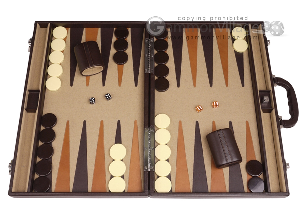 Aries Professional Leather Backgammon Set - Brown/Beige
