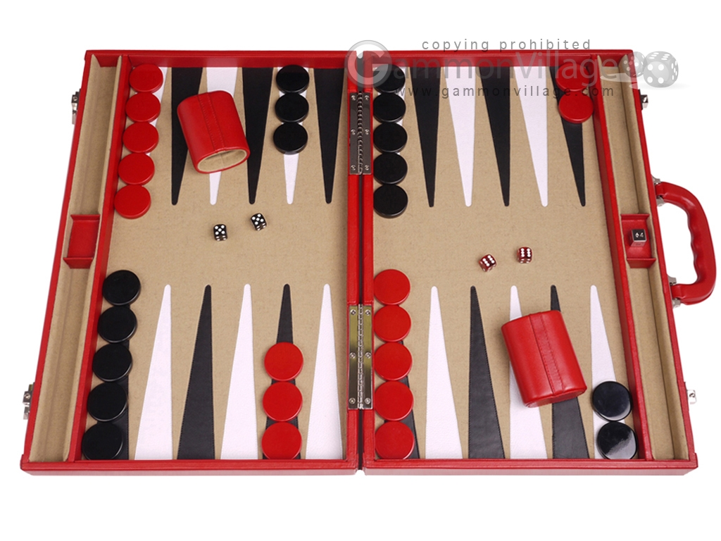 Aries Professional Leather Backgammon Set - Red/Beige