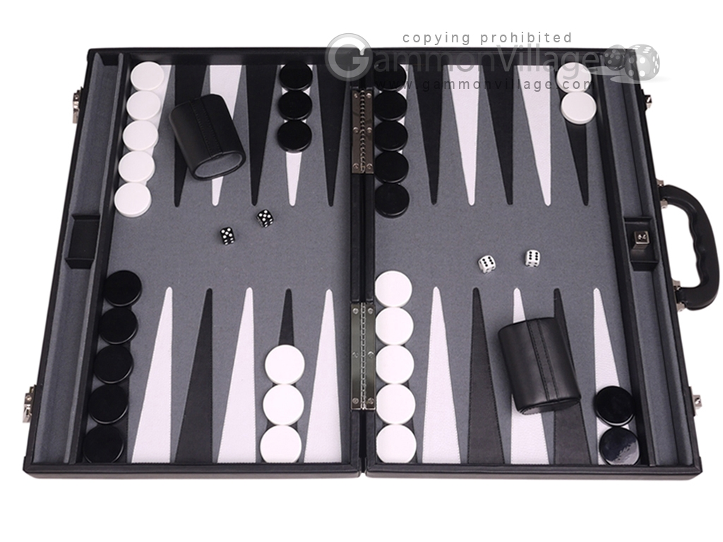Aries Professional Leather Backgammon Set - Black/Grey